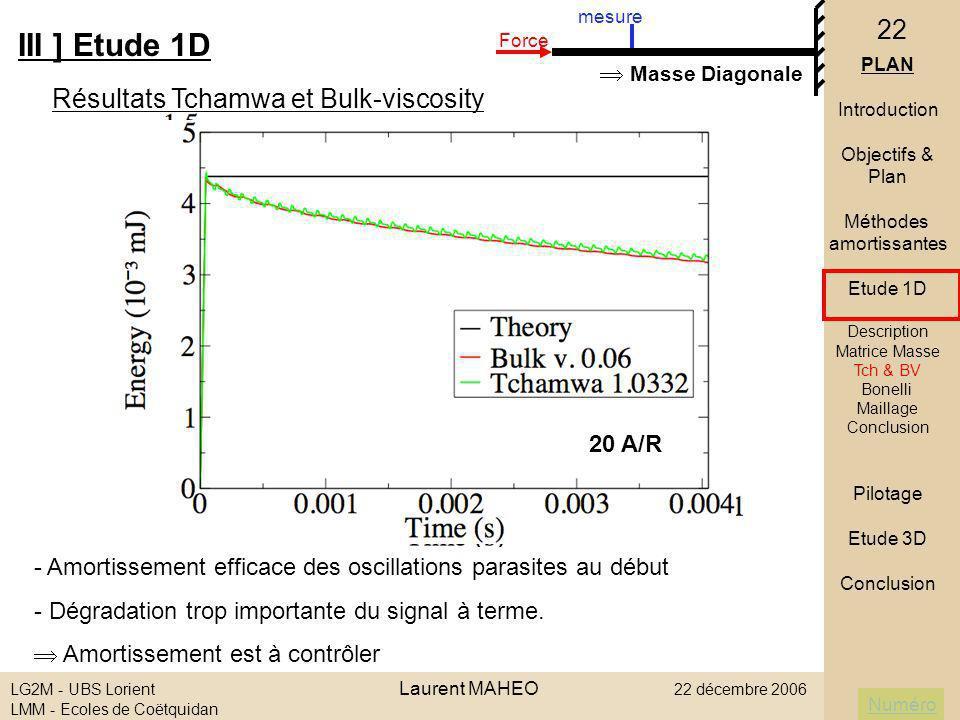 III ] Etude 1D Résultats Tchamwa et Bulk-viscosity  Masse Diagonale